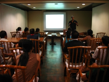 Giving a presentation to the Lagen Island Resort staff on El Nido's herps