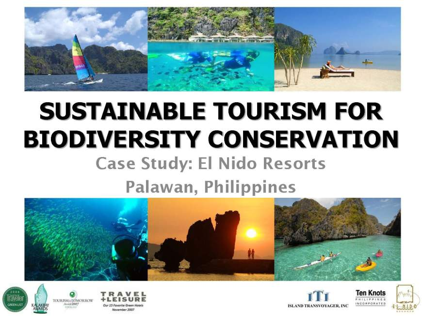 Sustainable Tourism for BiodivConservation - El Nido Resorts 1