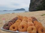 Doughnut litter--sumptuous snacks for the volunteers