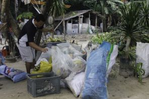 Volunteers brought the collected trash to the ENR Materials Recovery Facility.