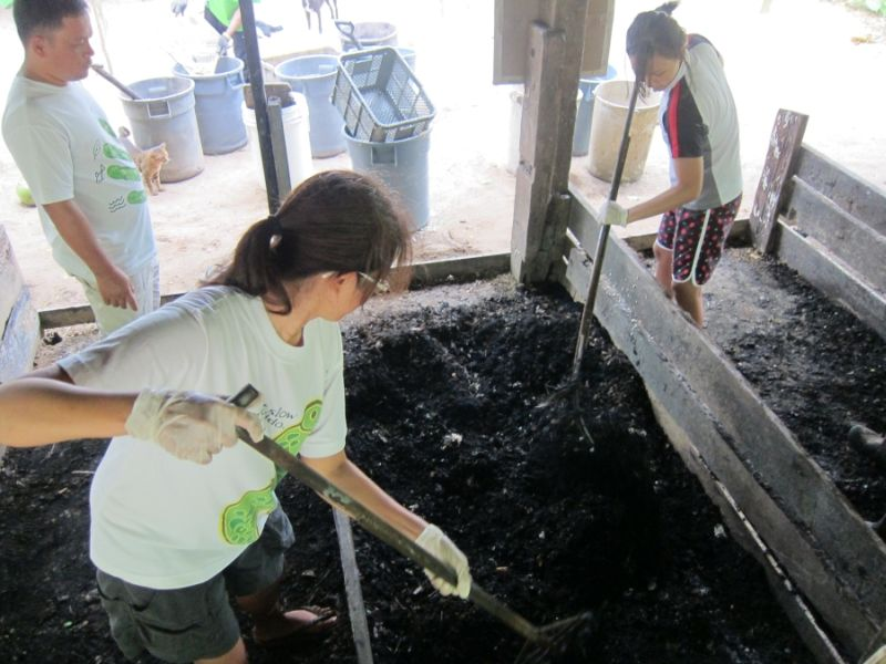 Mixing the new batch of compost