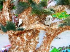 Styrofoam animals and scrubbing pad leaves