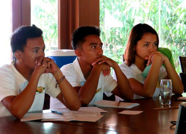 Jun, Ryan and Jannah of Pangulasian Island Resorts focused on the lesson